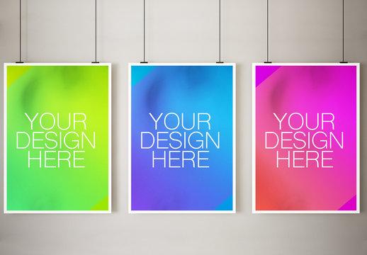 3 Large Framed Posters Mockup 1
