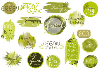 Big vector set of healthy organic food labels for restaurants, cafe. Concept of healthy lifestyle, weight loss