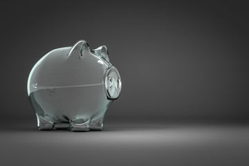 an empty piggy bank with space for your content