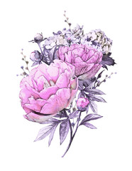 watercolor flowers. floral illustration. Bouquet of flowers purple peonies, Leaf and buds. Cute composition for wedding or  greeting card.  branch of flowers isolated on white background