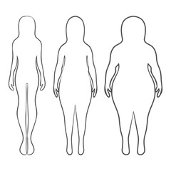 Silhouettes of women thick and thin. Vector illustration, hand drawn