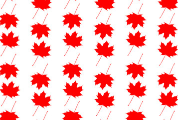 Maple leaf - vector white-red pattern