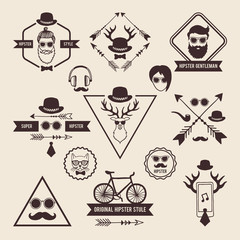 Hipsters badges templates with place for your text. Vector icons set