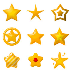 Glossy gold stars in cartoon style. Icons set for game design projects