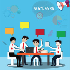 Business teamwork,business working and discussion - Vector
