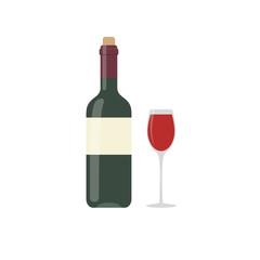 Bottle of wine, glass. Vector