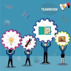 Business teamwork,everyperson in team working for success - Vector