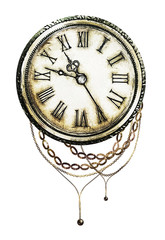 watercolor illustration with clock and chain. Gothic background. Cool print on T-shirt, Tattoo. retro