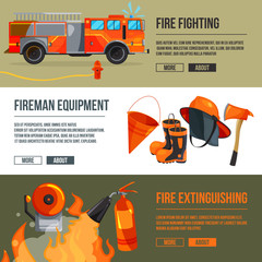 Horizontal banners set of fireman tools pictures. Firefighter in big flame. Vector illustrations with place for your text