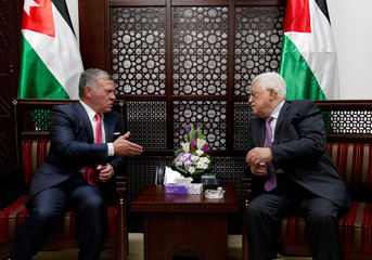 Palestinian President Mahmoud Abbas meets with Jordan's King Abdullah II in the West Bank city of Ramallah