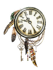 watercolor illustration with clock, keys and feathers, chain. Gothic background with flowers. Cool print on T-shirt, Tattoo. Vintage