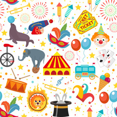 Circus seamless pattern. Holiday carnival endless background, texture. Isolated on white background. Vector illustration