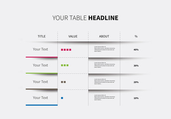 Infographic Table Layout with Progress Bars