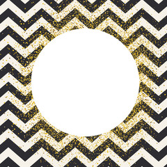 Invitation card design template. Chevron seamless pattern and white circle shaped copyspace with golden chaotic dots.