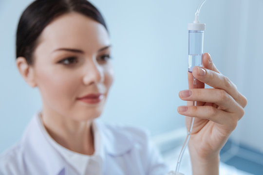 Selective focus of an IV drip bottle