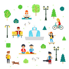 People in the park vector flat infographic elements isolated on white background
