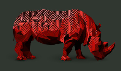 Vector rhinoceros illustration. Low poly and woodcut style design. Stylized geometric animal.