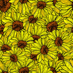 Sunflower seamless, shattered pattern. Floral background vector hand drawn illustration