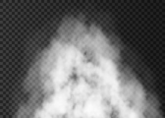 White smoke explosion  isolated on transparent background.