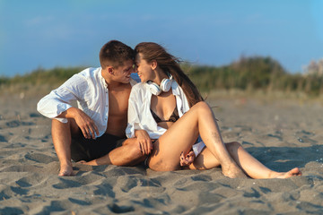 Young couple in love on the beach