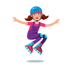 Girl in jumpsuit, helmet jumping on roller blades
