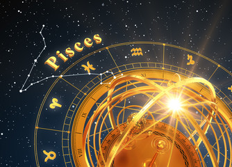 Zodiac Sign Pisces And Armillary Sphere On Blue Background