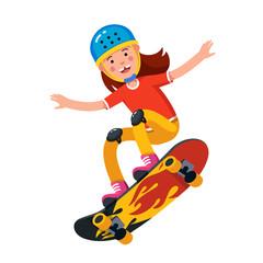 Teen boy in wearing helmet jumping on skateboard