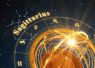 Zodiac Sign Sagittarius And Armillary Sphere On Blue Background