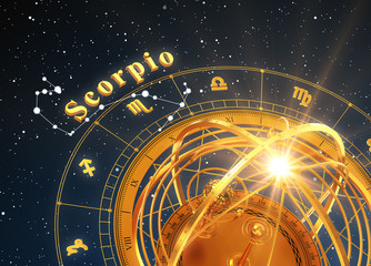 Zodiac Sign Scorpio And Armillary Sphere On Blue Background