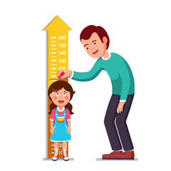 Teacher or father measuring girl kid height