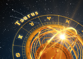 Zodiac Sign Taurus And Armillary Sphere On Blue Background