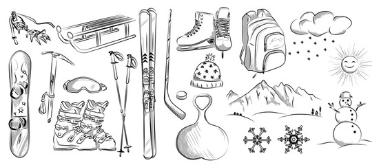 Icon set of winter objects: hockey, skates, ski, sleds, backpack, snowboard. Hand drawn vector illustration.
