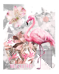 Tropical summer geometric poster design. Triangles and circle with grunge textures. Watercolor pink bird - flamingo. Exotic Abstract background, vintage. Hand painted illustration. doodles retro