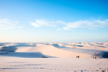 Sand dunes with blue and green lagoons in Lencois Maranhenses National Park