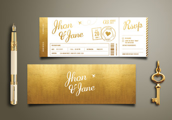 Gold Foil Ticket Wedding Invitation