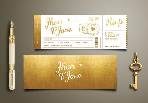 Gold Foil Ticket Wedding Invitation
