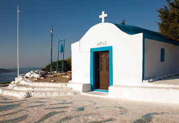 Little chapel on the hill. Small church in Faliraki, Greek town on the island of Rhodes.