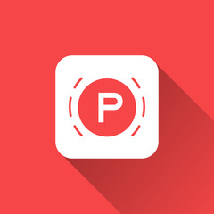 parking icon with long shadow