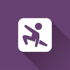 Gymnast boy icon with long shadow
