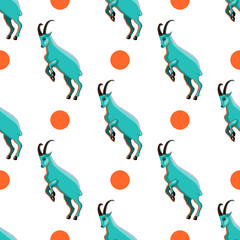 Seamless pattern with goat