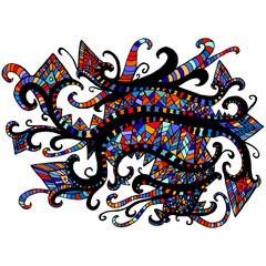 Ethnic, psychedelic, Boho pattern, isolated.