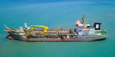 Suction-Dredger vessel at sea - Aerial image