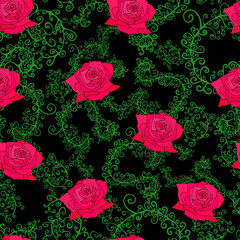 Roses, leaves, branches, seamless pattern.