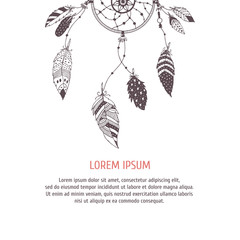 Poster with cute hand drawn dreamcatcher and feather. Vector card with space for you text
