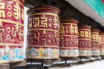 Tibetan prayer wheel in area of Rumtek Monastery near Gangtok. Sikkim, India