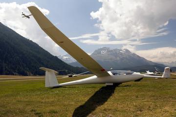 A glider at the St Moritz grand prix