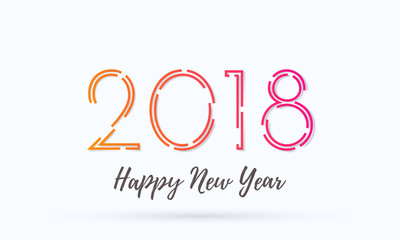 2018 Happy New Year greeting card background vector wish text design