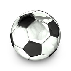 silver soccer football ball 3d rendering