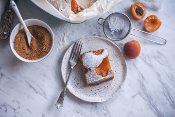 Apricot yogurt cake served on a dessert plate