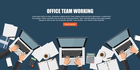 People working on Computer Laptop. Office Team working process, Our Team Concept. Modern flat designed vector illustration.